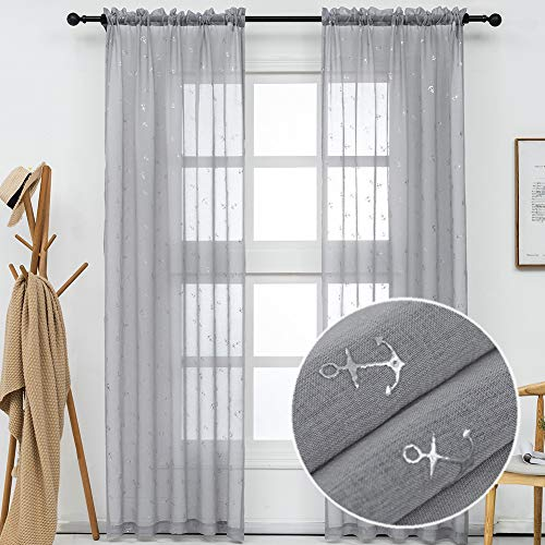 Kotile Anchor Curtains for Windows - Nautical Bedroom Curtains Printed Silver Embossed Anchors for Boys Room Rod Pocket Grey Sheer Curtains 84 Inches Long Window Curtains, 52 x 84 Inch, 2 Panels, Gray