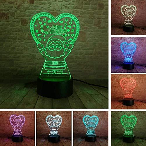 Lámpara de ilusión 3D Luz de noche LED Novedad Bulbing Santa Claus Love Heart 7 Color Lámpara de mesa cambiable Dormitorio de cabecera Hogar Centro comercial Decoración Regalo