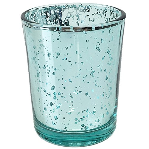 YarStore Versatile Charming Mercury Votive Candle Holder (1pcs, 2.75' H, Speckled Aqua) - Home and Wedding Mercury Glass Candle Holders