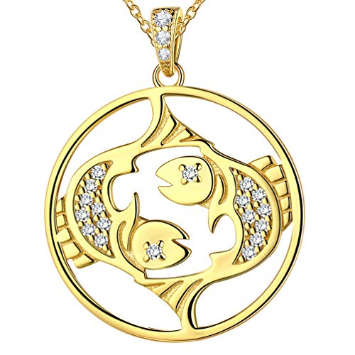 Zodiac Constellation Pisces Necklace for Men Women 925 Sterling Silver 18K Gold Plated Horoscope Pendant Astrology Jewellery Birthday Gift for Girlfriend Wife FP0093Y