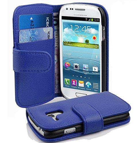 Cadorabo Funda Libro para Samsung Galaxy S3 Mini en Azul Real - Cubierta Proteccíon de Cuero Sintético Estructurado con Tarjetero y Función de Suporte - Etui Case Cover Carcasa