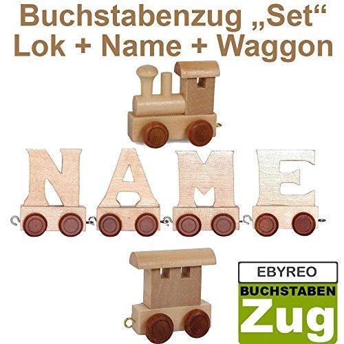 Buchstabenzug Namens-Set Lok + Yero + Endwaggon | EbyReo Namenszug aus Holz | personalisierbar | Geschenk zur Geburt | Taufgeschenk | Geschenk zu Einschulung (Yero)