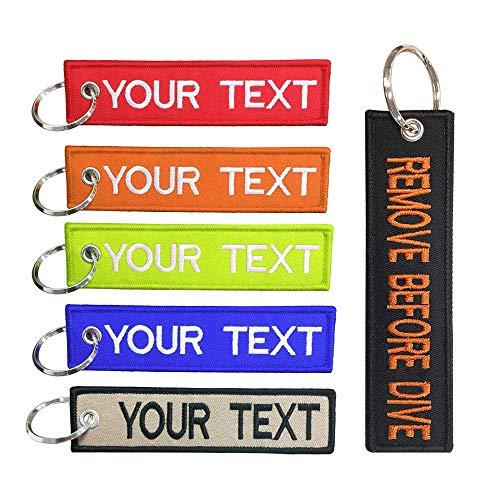 Brillianne personalisierter Schlüsselbund, für Motorräder, Auto und Geschenke, Sticktext-Schlüsselbund für Männer, doppelseitiger Biker-Schlüsselring (13 x 3 cm)