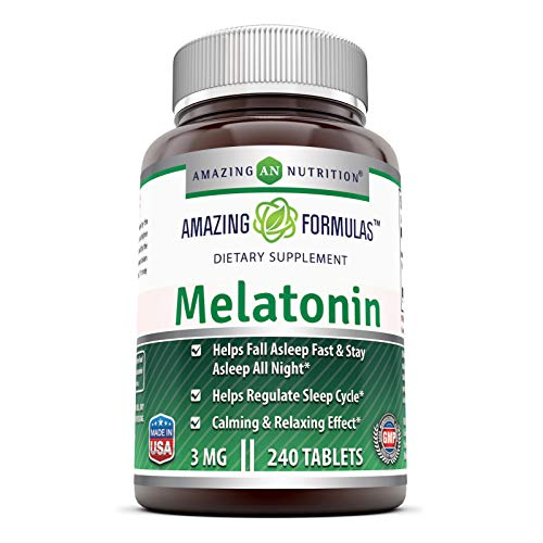 Amazing Nutrition Melatonin – 3 Mg Tablets - Best Choice of Natural Sleep Aibld Supplement – Promotes Calming and Relaxing Effect - 240 Tablets Per Bottle- Suitae for Vegetarian
