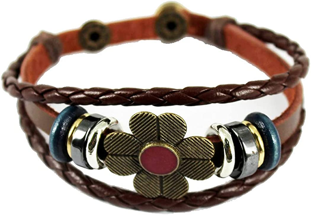 November's Chopin Unique San Jose Department store Mall Beads Braided Leather Wrap Adjustable B