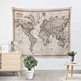 YXyixiang tapestry map world retro Asian south city topography USA Africa Japan tapestry bedroom living room dormitory wall decoration (MAP-D,59'W x 51'L)