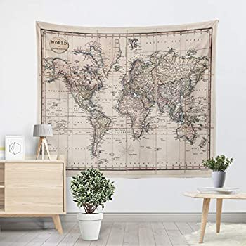 YXyixiang tapestry map world retro Asian south city topography USA Africa Japan tapestry bedroom living room dormitory wall decoration  MAP-D,59 W x 51 L