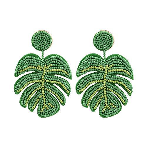 Palm Leaf Earrings Handmade Braided Beaded Dangle Earring Bohemia Tree Seed Bead Drop Earrings Resin Bridal Plant Leaves Statement Earrings for Women Girl Boho Wedding Jewelry-green