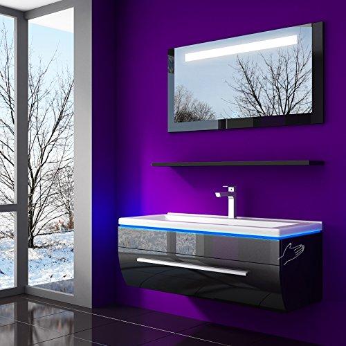 HOMELINE 70 cm Schwarz Badmöbelset Vormontiert Badezimmermöbel Waschbeckenschrank mit Waschtisch Spiegel mit LED Hochglanz Lackiert Homeline1