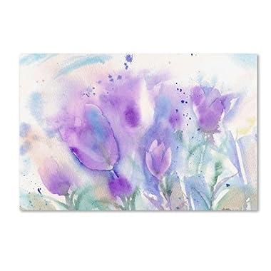 Trademark Fine Art Purple Blues Artwork by Sheila Gold Ornate Frameen, 22 by 32-Inch Canvas Wall Art