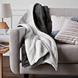 Amazon Basics Ultra-Soft Micromink Sherpa Blanket - Throw, Charcoal