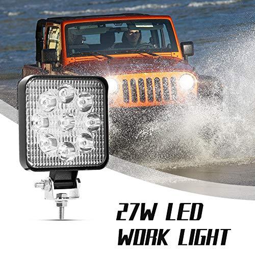 Viugreum 27W Faros Led Tractor, Faro Trabajo LED Focos de Coche Redonda (Blanco frío 6500k) 12-24V D4mini IP67 Impermeable, Off-road Foco de Trabajo LED para ATV SUV MotoTractor Barco