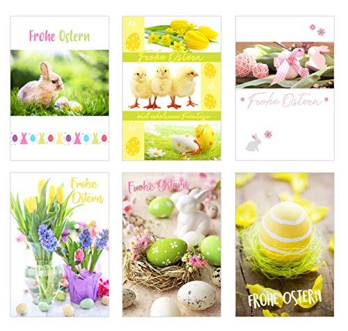Edition Seidel Set 6 Premium Osterkarten mit Umschlag (Doppelkarten Klappkarten Glückwunschkarten) Karte Postkarte Ostern (20528)