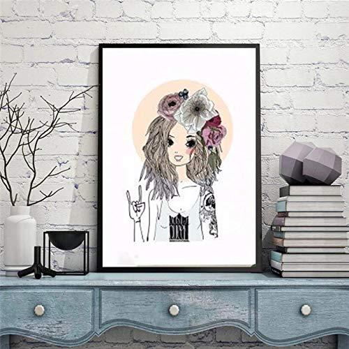 JHGJHK Falda Rosa Dama Cartel de Arte nórdico Imagen Impresa Sala de Estar Dormitorio de niña decoración del hogar Pintura al óleo (Imagen 4)
