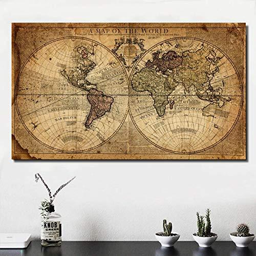 Retro Old Global Voyage Weltkarte Europäisches Mittelalter Navigation Route Karte Leinwandbilder Wandkunst Druck Poster Wohnzimmer Schlafzimmer Büro Home Decoration