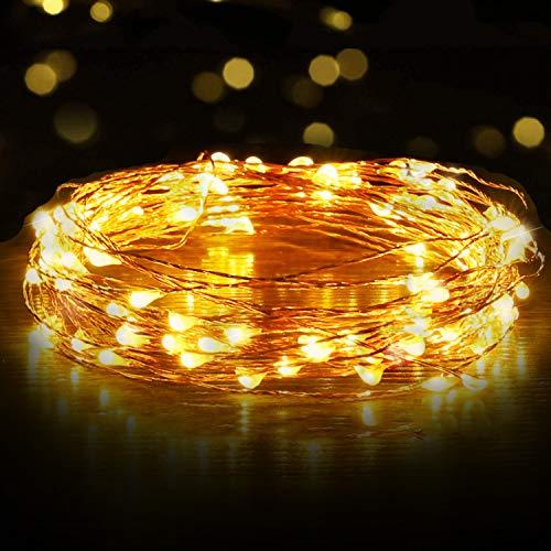 Luces Led USB, Ariceleo 1 Piezas 10 Metros 100 LED Mini LÁMpara Alambre de Cobre Guirnalda Cadena Luces de Navidad para Casa Dormitorio Navidad Habitacion Fiestas Boda DecoraciÓN(Blanco CÁLido)