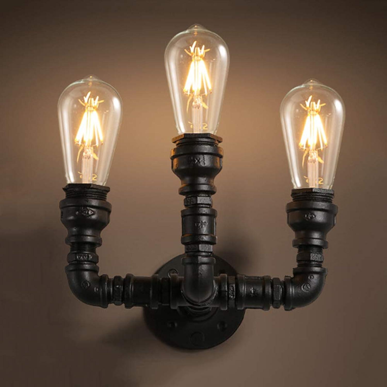 Industrial Wasserrohr Wandlampe Steampunk Dekorative Wandleuchte Vintage Stil Wandlicht 3 Flammig für Loft Korridor Bedside Küche Esszimmer Café Bar Beetlampe E27