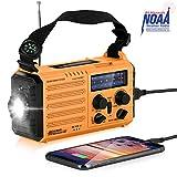 Radio de Emergencia Portátil con Manivela,Radio Solar Am/FM/SW/NOAA Radio Meteorológica con Power...