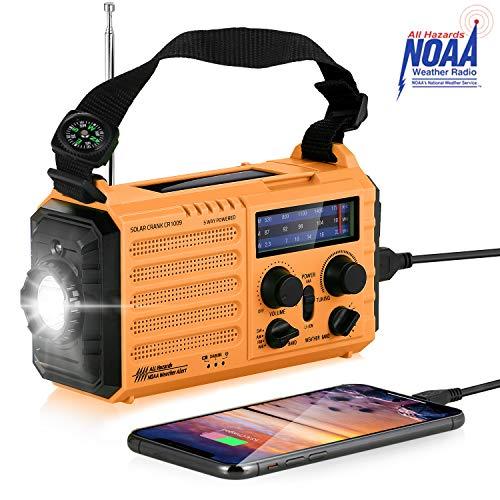 Radio de Emergencia Portátil con Manivela,Radio Solar Am/FM/SW/NOAA Radio Meteorológica con Power Bank de 2000 mAh, Linterna LED y Lámpara de Lectura, Alarma SOS y Brújula (Amarillo)