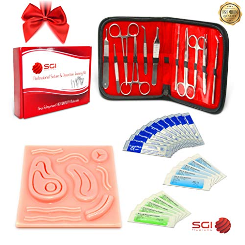 Suture Kit – Practice Medical Sutures and Dissection with 3D Silicone Pad – Sterile Needles – Surgical Scissors – Scalpel Blades – Forceps (Demonstration & Education Use Only)