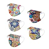 【US Stock】 50PC Flower Face_Masks for Women Men,Colored Floral Designs Paper 3ply Breathable Protective Party Spring Gifts
