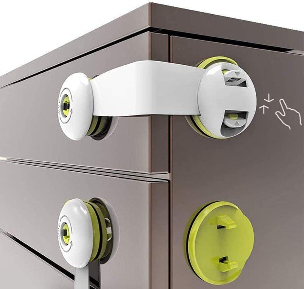 Cabinet Locks Child Safety No Drill Drawer Latches Baby Proof Adhesive Lock Childproof Latch for Dresser, Fridge, Refrigerator, Freezer, Closet, Trash, Cupboard