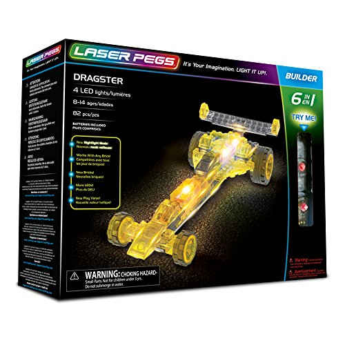 Laser Pegs Dragster 6-in-1 Building Set Building Kit; The First Lighted Construction Toy to Ignite Your Child's Creativity; It's Your Imagination, Light It Up
