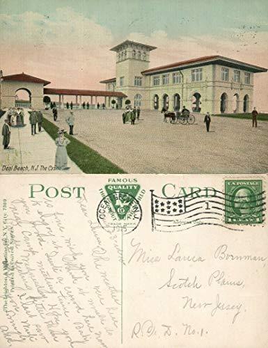DEAL BEACH N.J. CASINO 1915 ANTIQUE POSTCARD