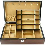 Männer Frauen Uhr-Anzeigen-Drawer Case- Holz Ebony Holzmaserung Uhr Lagerung Schmuck-Box Doppel Multifunktionale Uhr-Anzeigen-Box anizer (Farbe: Kaffee, Größe: 36x22x9cm) HLSJ