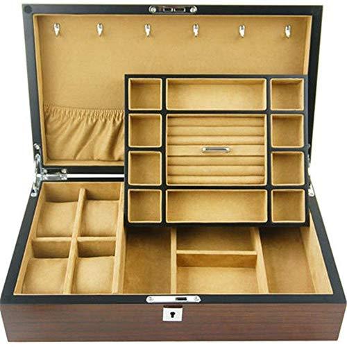 HRSS Männer Frauen Uhr-Anzeigen-Drawer Case- Holz Ebony Holzmaserung Uhr Lagerung Schmuck-Box Doppel Multifunktionale Uhr-Anzeigen-Box anizer (Farbe: Kaffee, Größe: 36x22x9cm)