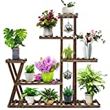 CFMOUR Wood Plant Stand Indoor Outdoor, Garden Plant Shelf Multi Tier Flower Shelf Rack Display Stands,Wooden Plant Shelves Planter Organizer for Living Room Patio Balcony Garden