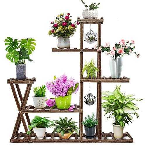 CFMOUR Wood Plant Stand Indoor Outdoor, Garden Plant Shelf Multi Tier Flower Shelf Rack Display...
