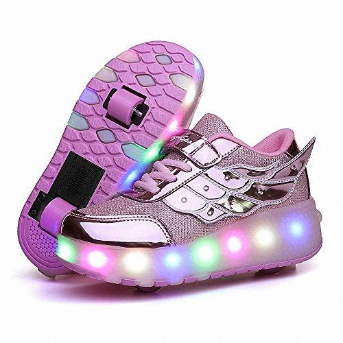 FZ FUTURE Skateboardschuhe mit Rollen, LED Schuhe mit Rollen, Kinder Leuchtend Rollenschuhe Outdoor-Sportarten Gymnastik Blinken Turnschuhe, für Kinder Mädchen Junge Erwachsene,C,34
