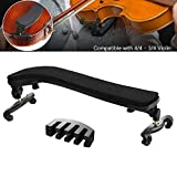 Branger Resto del Hombro para Violín 4/4 - 3/4 Tamaños, Soporte de Hombro para Violines de 4/4 - 3/4 con pies de Goma Ajustables y Almohadilla Acolchada de Espuma (Regalo Gratis: Practica Mudo)