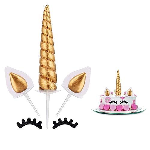 Unicorn Cake Topper Gold Birthday Horn Ears And Eyelash Set