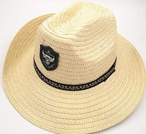 YDY Verano Hombres Bull Badge Sombrero de Paja de Vaquero con Cuerda Jazz Sombreros Western con Gorras de ala Ancha Gorra de protección Solar para Hombre, Beige