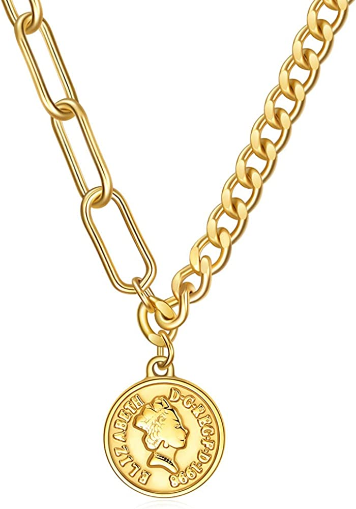 Reyife Carved Gold Medallion Coin Pendant Necklace 18k Gold Plated Chunky Cuban Chain Necklace for Women Jewelry Gift
