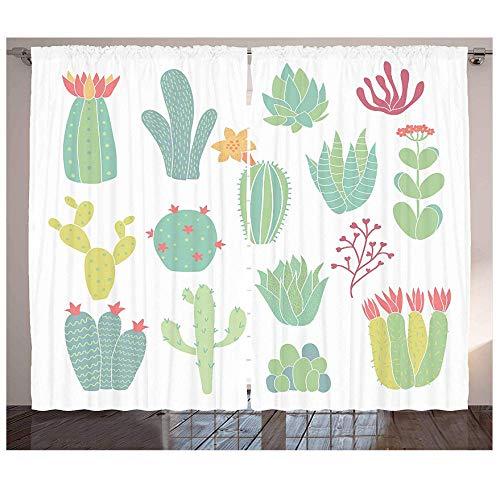 MUXIAND Cactus-gordijnen met de hand getekende cactepatroon bloeiende kamerplanten pot doornige tropische vetplanten woonkamer slaapkamer raam