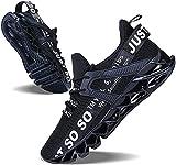 JSLEAP Schuhe Herren Fitness Laufschuhe Atmungsaktiv rutschfeste Mode Sneake (2 Schwarz,Größe 44 EU/270 CN)