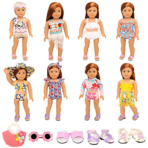 Miunana 21 Pcs Badeanzug = 8 Set Kleidung + 1 Brille + 2 Schuhe + 1 Handtasche für 45-50 cm Puppen 18 Inch Doll Puppen American Girl Doll Stehpuppen, Götz Puppen