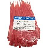 SYD CHEN 4' Inch Red Zip Ties (100 Pieces), 18lb Strength, Nylon Cable Wire Ties