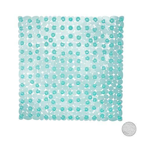 Relaxdays Duschmatte Steinoptik, rutschfeste Duscheinlage mit Saugnäpfen, waschbar, quadratisch BxT: 53 x 53 cm, türkis