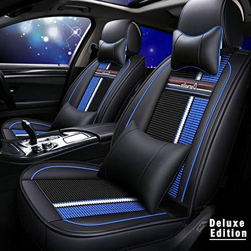 Muchkey - Set completo di 5 sedili per auto, in pelle, impermeabile, per Toyota Hilux Corolla Vios Prius, con poggiatesta e supporto lombare per schiena, colore: nero/blu