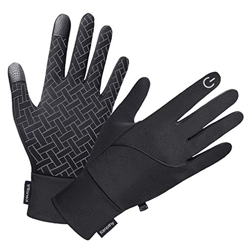 Winter Gloves for Men Women, Touch Screen Waterproof Windproof Cold Weather Warm Gloves for Running Cycling Hiking Driving (Black, Medium)