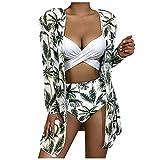 FOTBIMK Bikini acolchado para mujer Conjuntos de moda de árbol de coco impresión sexy bikini de tres piezas de malla dividida traje de baño de playa
