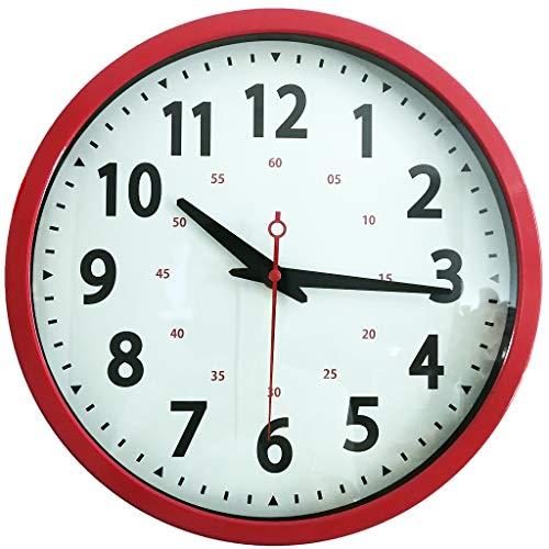 Yudou Wanduhr,12 Zoll Metall Wanduhr,Nicht Ticken Uhr Retro-Design and HD Glas,Leicht zu Lese,Lautlos Quartz Wanduhr, Hochwertige Wohnzimmer Schlafzimmer Küche Büro (Rote)