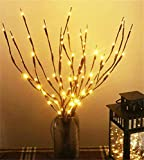 AMARS 3pcs Artificial Plants Lighted Branches with Timer Battery Powered Indoor Decorative Flowers LED Twig Lights for Living Room Home Floor Vase Decor (29inch, Auto 6H ON/18H Off, Warm White)
