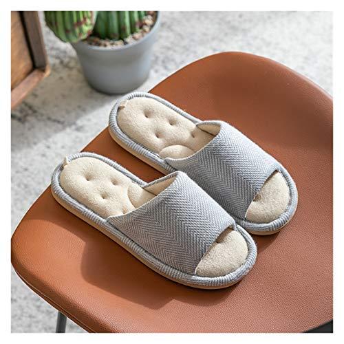 Zapatos caseros zapatillas de interior Inicio Mujeres Zapatillas de algodón Cómodo Tela Dormitorio Suelo Muden Ladies Zapatos planos Diapositivas Deslizadores antideslizantes Mujer memoria acogedora d