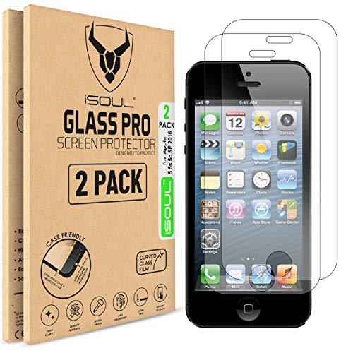 iSOUL [2-Stück] Glas Schutzfolie für Apple iPhone SE / iPhone 5S / iPhone 5C / iPhone 5 Premium Klar Anti-Kratz Screen Protector Displayschutzfolie - 9H Hardness aus gehärtetem Glas, Anti-Bläschen
