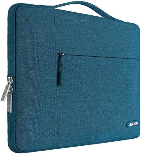 MOSISO Funda Blanda Compatible con MacBook Pro 15 Pulgadas con Touch Bar A1990 A1707/14 Pulgadas Chromebook ThinkPad, Poliéster Maletín Protectora Multifuncional Bolso, Trullo Profundo